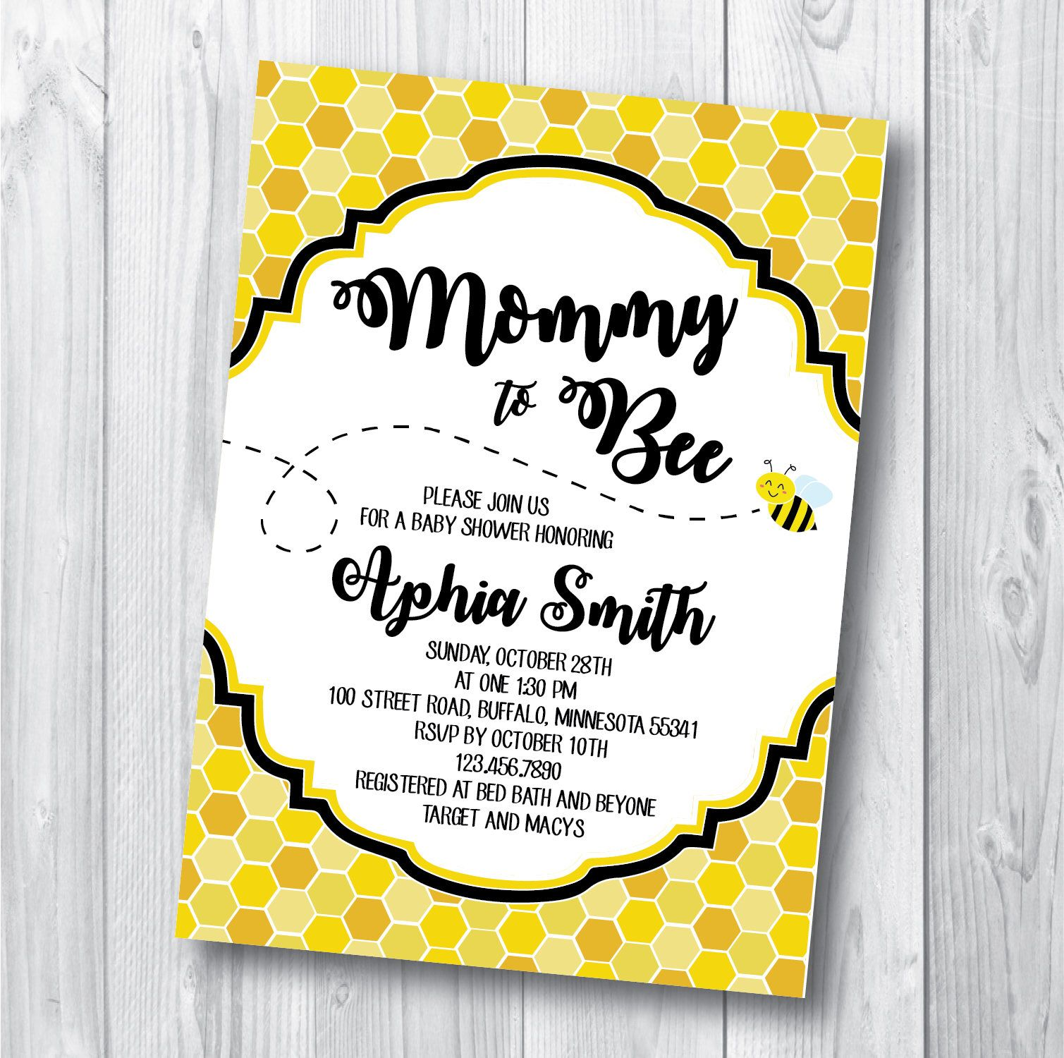 Bee Baby Shower Invitation - Printable Mommy To Bee Invitation ...