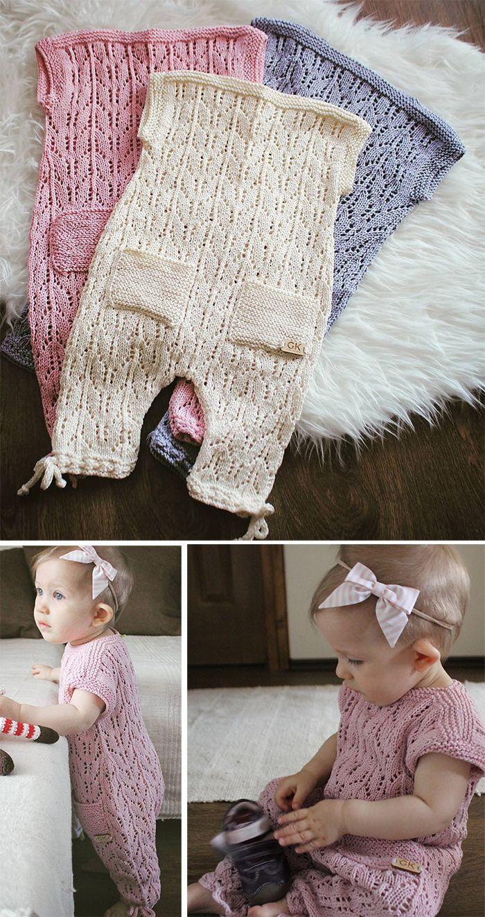 Free Knitting Pattern for Aurora Baby Romper - Lace romper currently in size 9-12 months, though the designer is working on more sizes. This MAY be only free for a limited time. Designed by Gynka Knitwear. DK weight. #strickanleitungbaby
