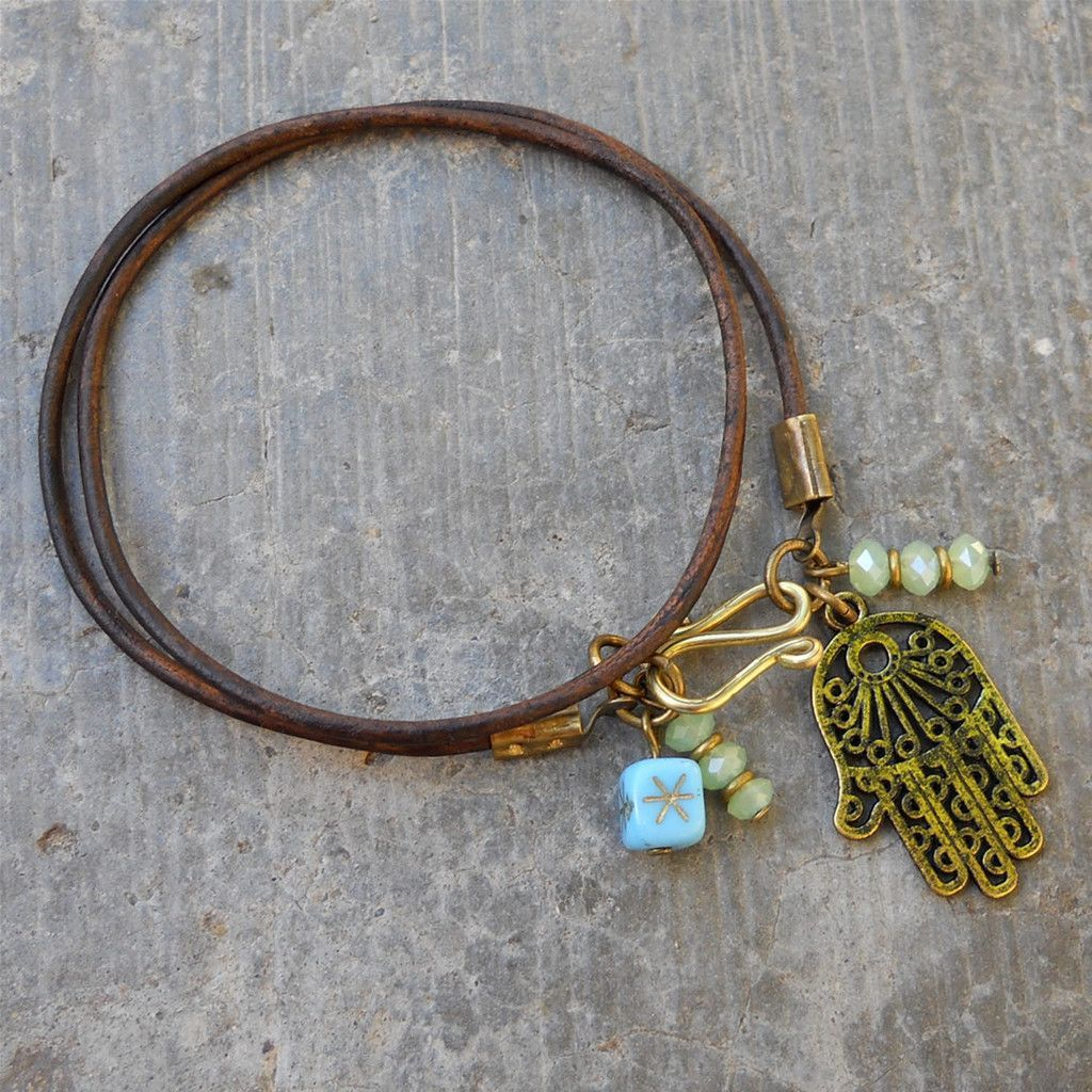 Leather Wrap Bracelet With Charms: Protection, Hamsa Hand And Charms Leather Wrap Bracelet