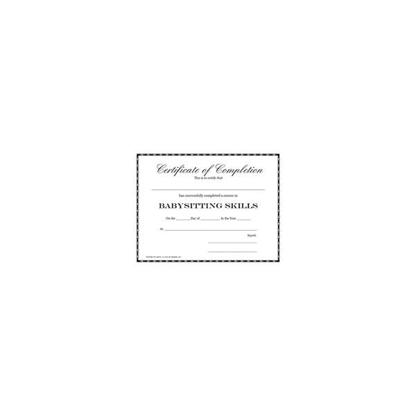 Babysitting Certification Certificate Printable Templates ❤ liked ...