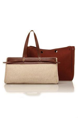 d388e6c6d8d3 Hermes HERbag Cabas GM In Ivory And Brown  2700.00