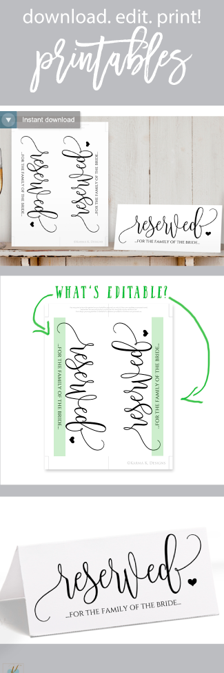 printable reserved sign rustic calligraphy black calligraphy