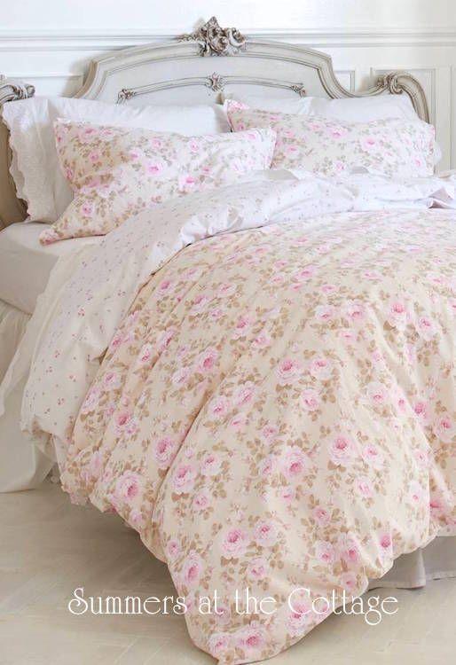 Pink Parfait Peony Roses Cream Duvet Comforter Cover Set King