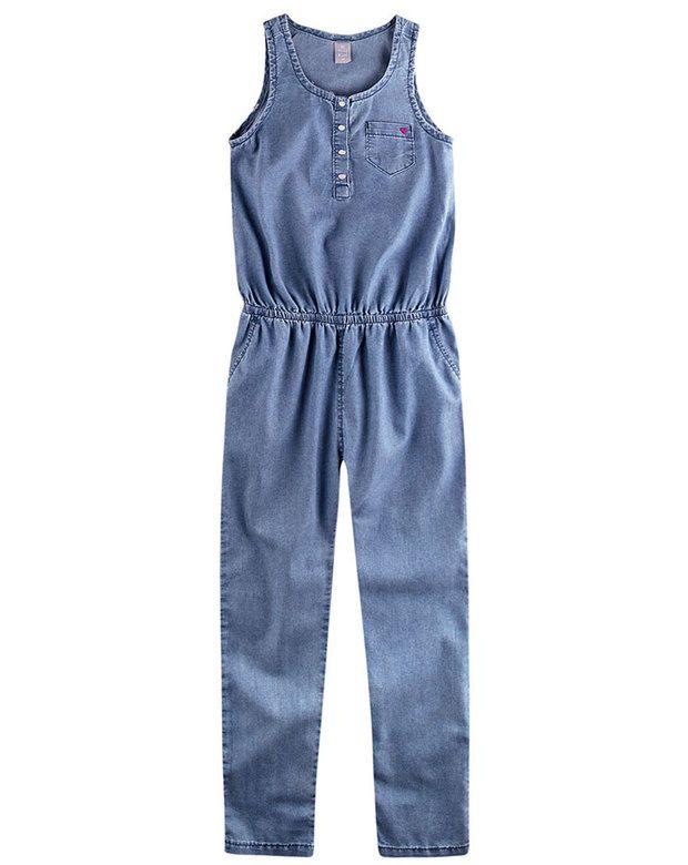 Macacão Jeans Infantil Menina Com Peitilho  514ecf95a96