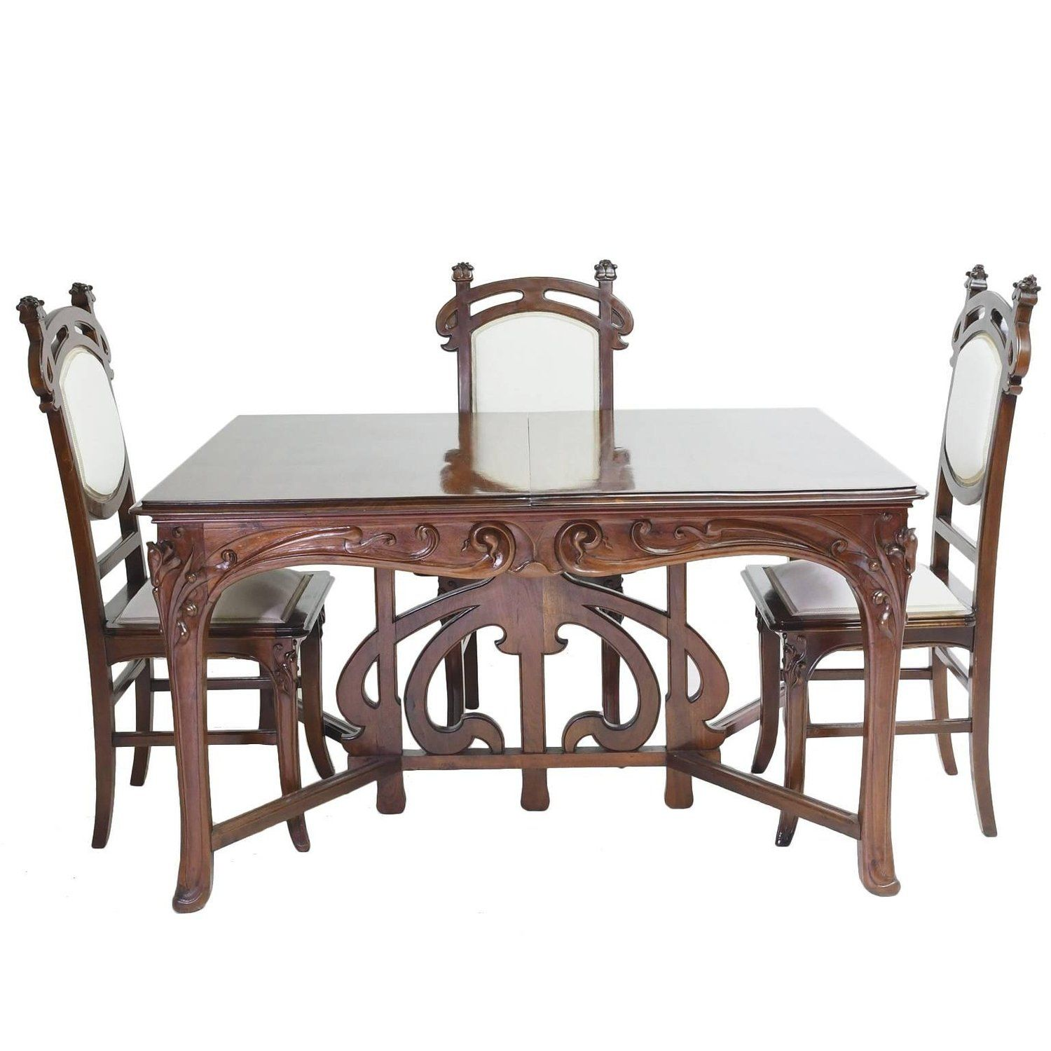 Art Nouveau Dining Suite with Six Chairs and Extension