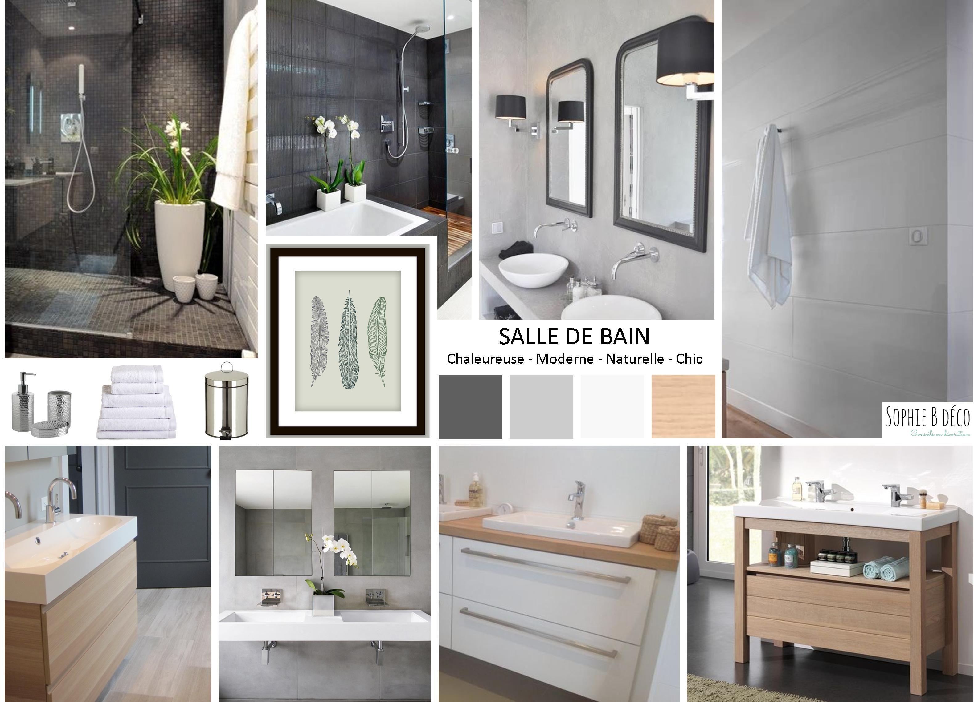 Planche tendance. Salle de bain en gris, blanc et bois Sophie B ...