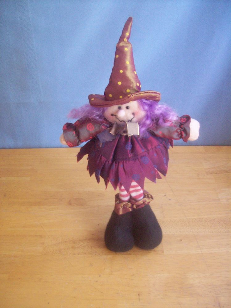 Cute Witch Doll With Purple Hair Halloween Decoration Witches - witch decorations