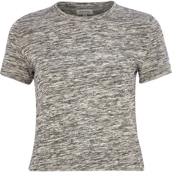 River Island Grey marl crop t-shirt ($20) ❤ liked on Polyvore featuring tops, t-shirts, shirts, crop top, grey, sale, t-shirts / tanks / sweats, women, gray t shirt and crop tee