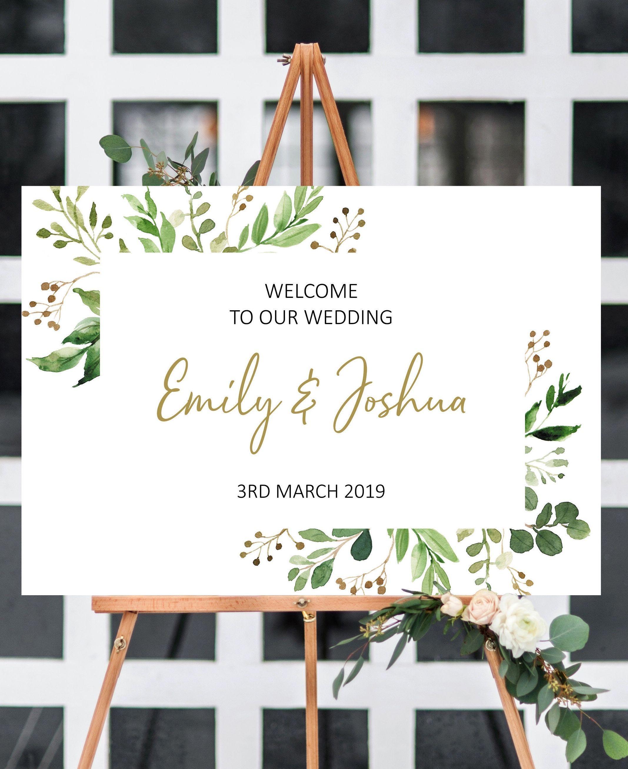 Wedding decorations gold and pink  Garden wedding welcome sign printable garden wedding ideas