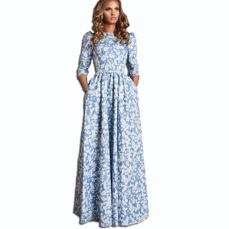 3/4 Length Sleeve Maxi Dress