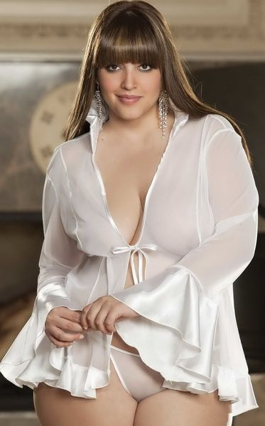 Plus Size charmeuse Coat Lingerie