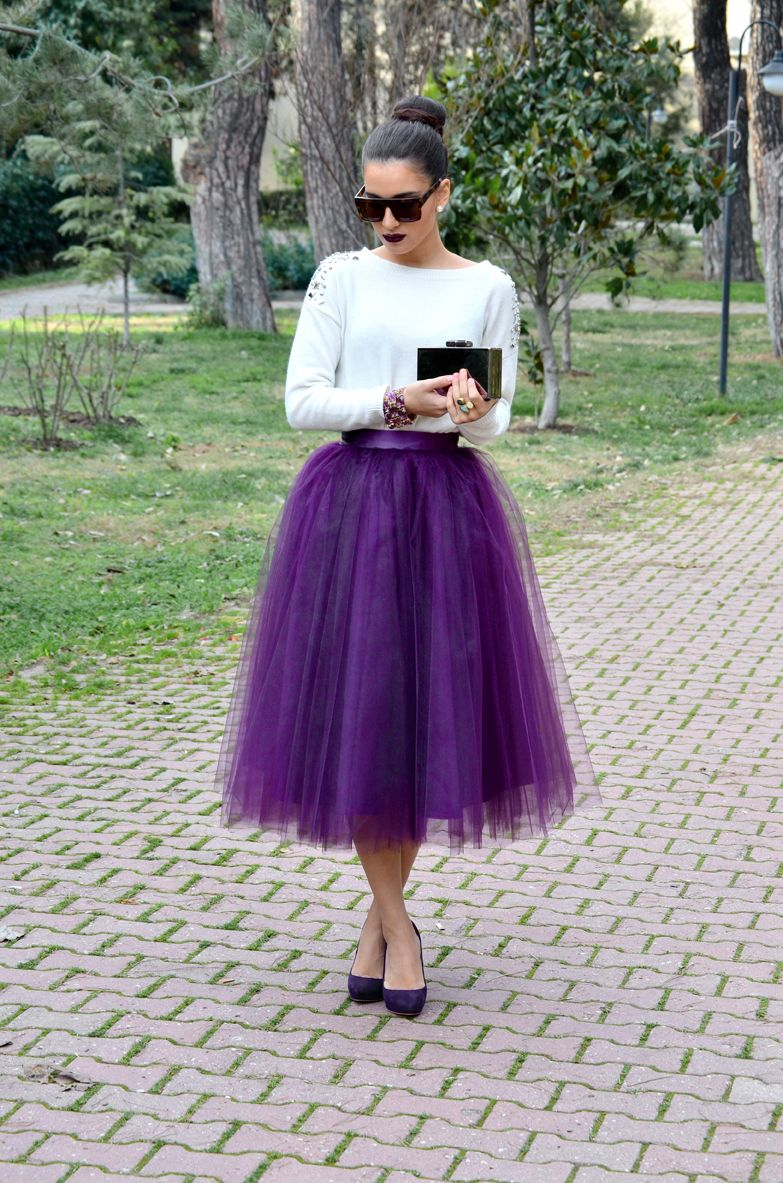 1dd06a263e7 Women s Tea Length Tulle Skirt by MonicaKarinneCouture on Etsy. Purple Tulle  Skirt
