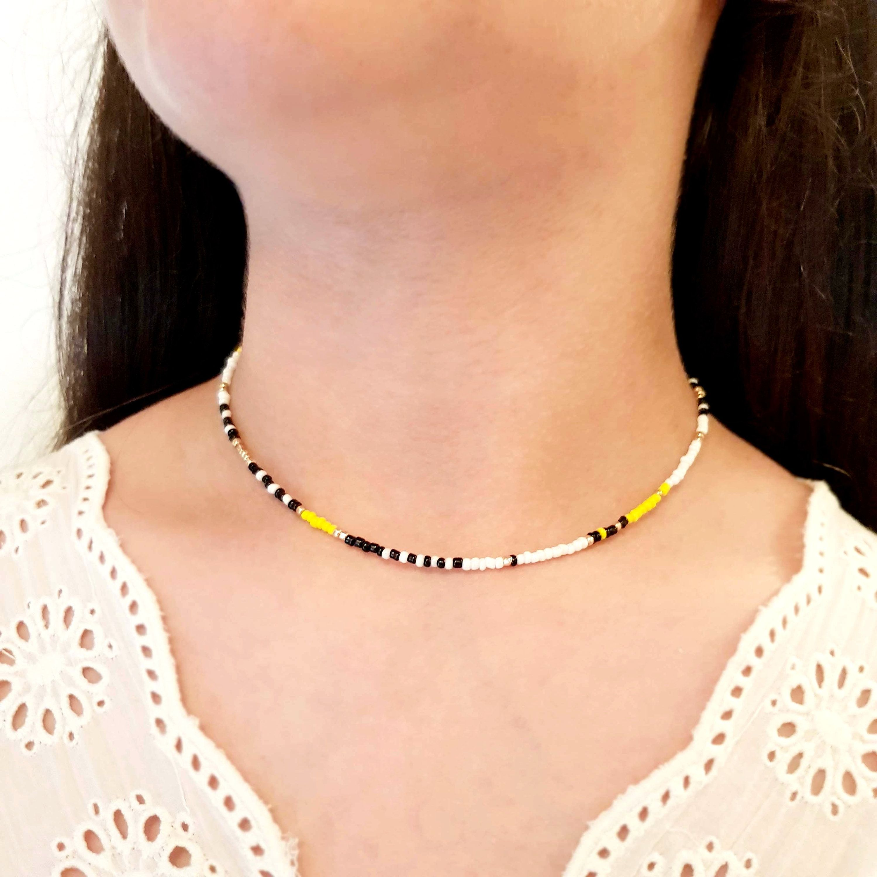 Glass Bead Necklace Beaded Boho Necklace Short Seed Bead Necklace Black or White Seed Bead Necklace Gold Cowrie Shell Necklace