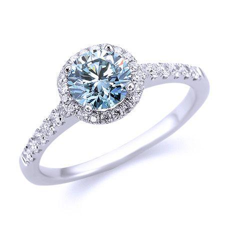 Blue Diamond Halo Engagemnet Ring Andrews Jewelers Buffalo NY