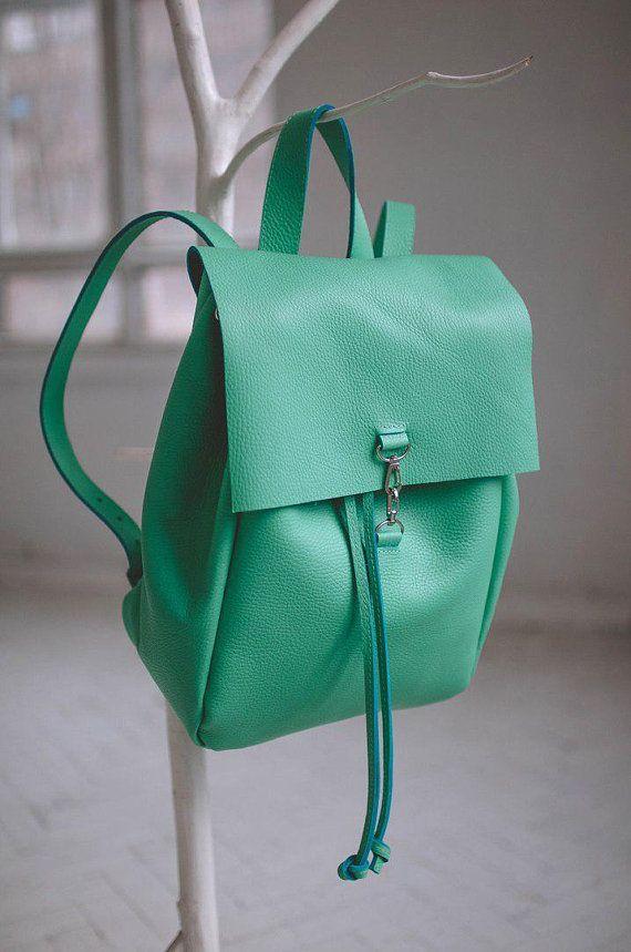 Handmade Green Leather Small Backpack Handbags Purse Las Backpacks For Womens