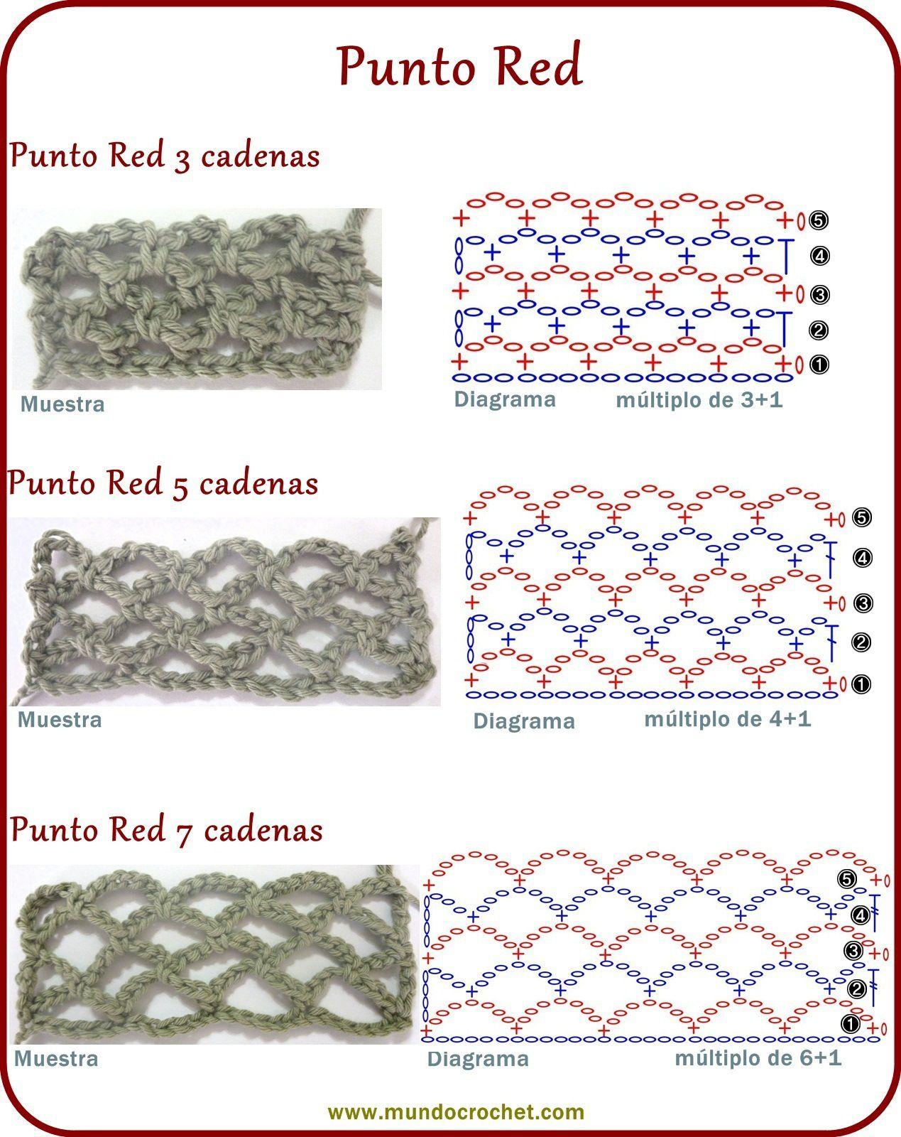 Punto red - Crochet stitch - вязание крючком пунктов | Крючок ...