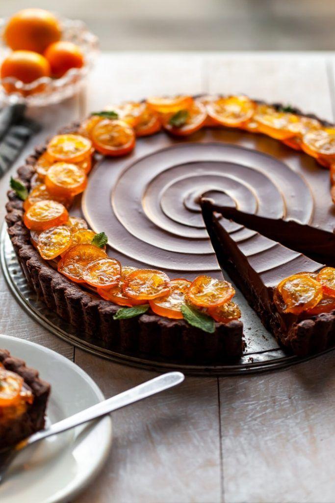 Vegan Chocolate Orange Tart with Candied Kumquats