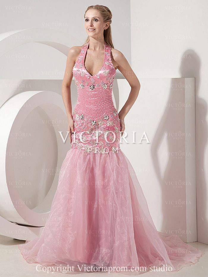 Pink Mermaid With Train Beaded Organza Halter With Straps Prom Dress ...