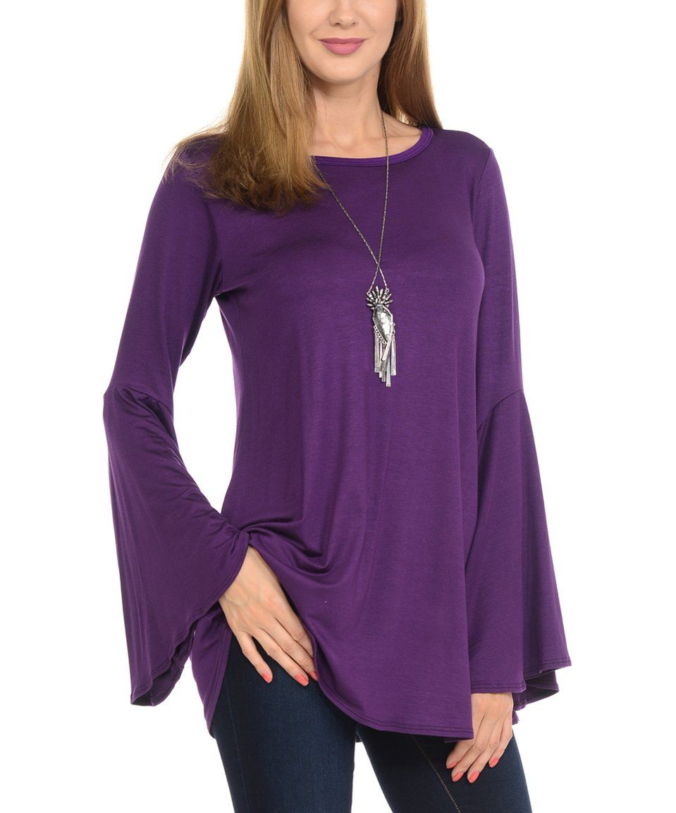 4b26ee97bc659f Take a look at this Purple Bell-Sleeve Top today! | Clothes, dresses ...