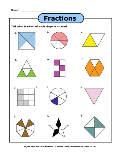 Fraction Shapes Shaded Worksheet Matekra Fractions