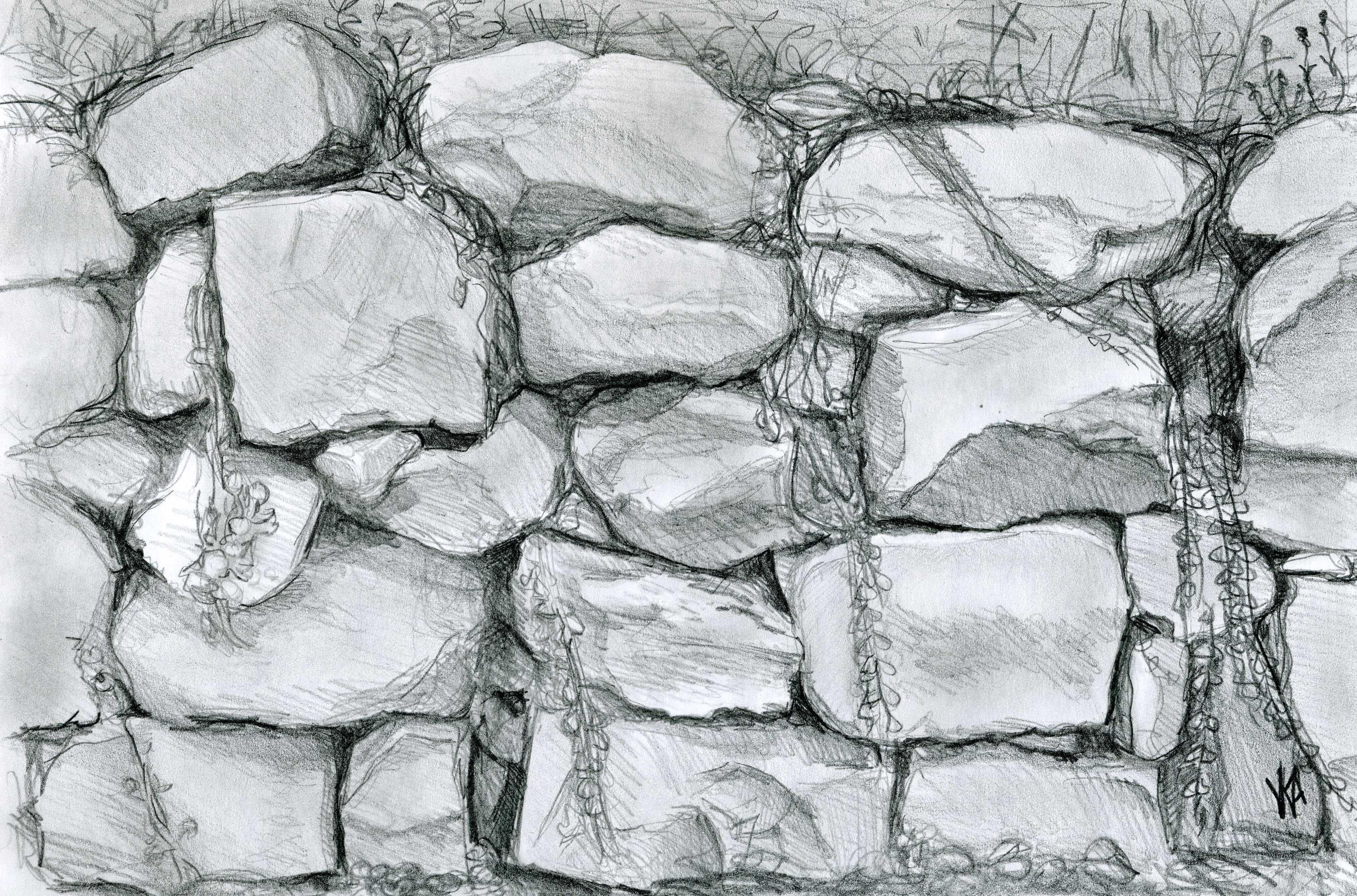 Pin By Paf On Drawing Material Drawing Rocks Wall Drawing