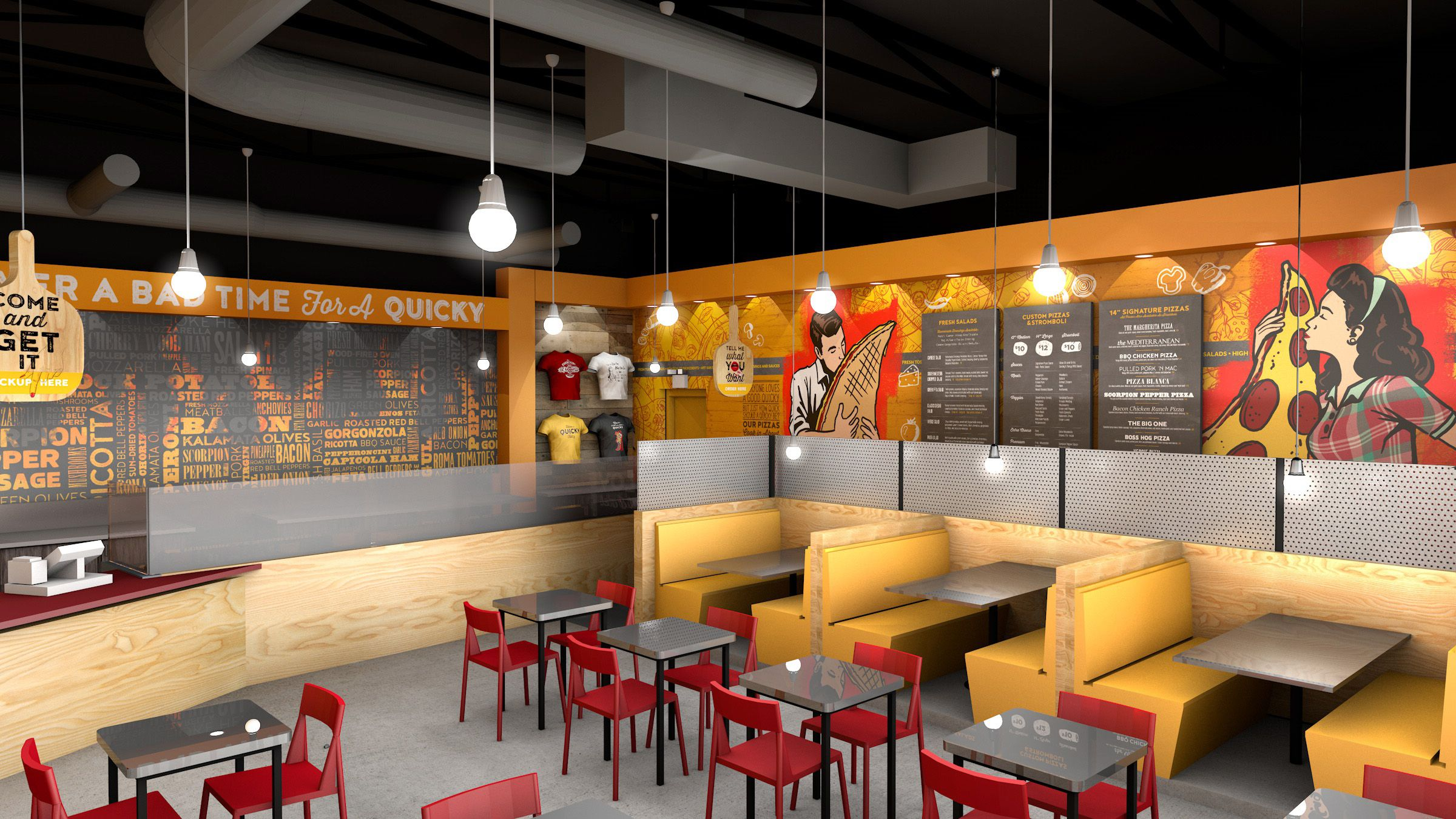 Quicky Pizza Luna Creative Graphic Design San Antonio 3D