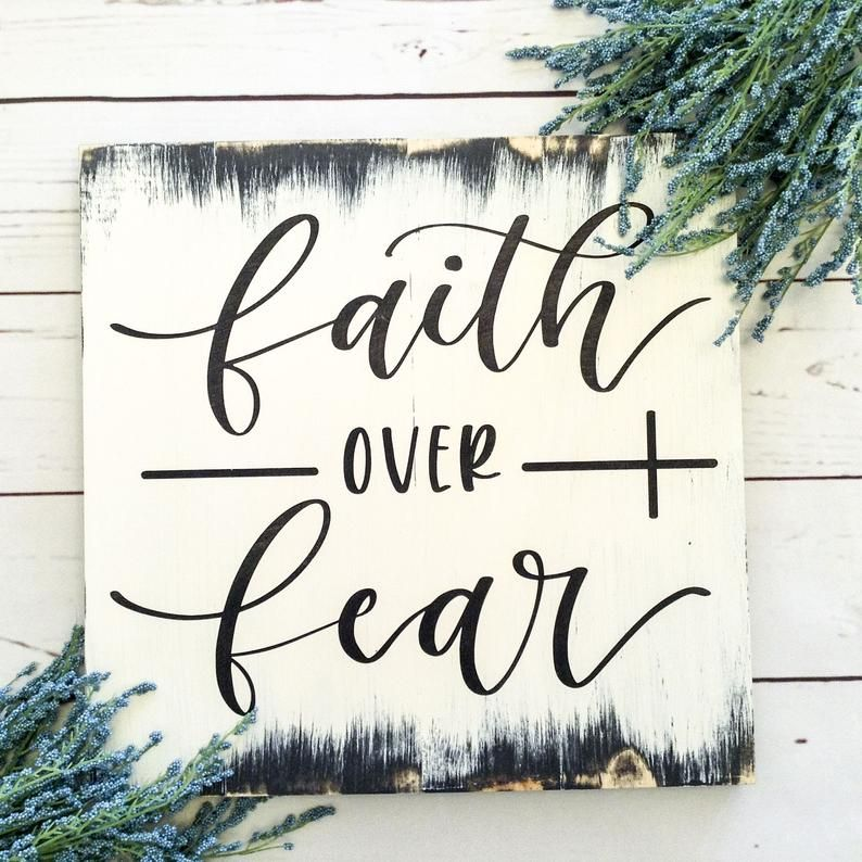 White Faith Over Fear Rustic Wood Sign Bible Verse Wall Art Christian Wall Art Christian Gifts Scripture Wall Art Wood Signs Bible Verse Bible Verse Wall Art Rustic Wood Signs