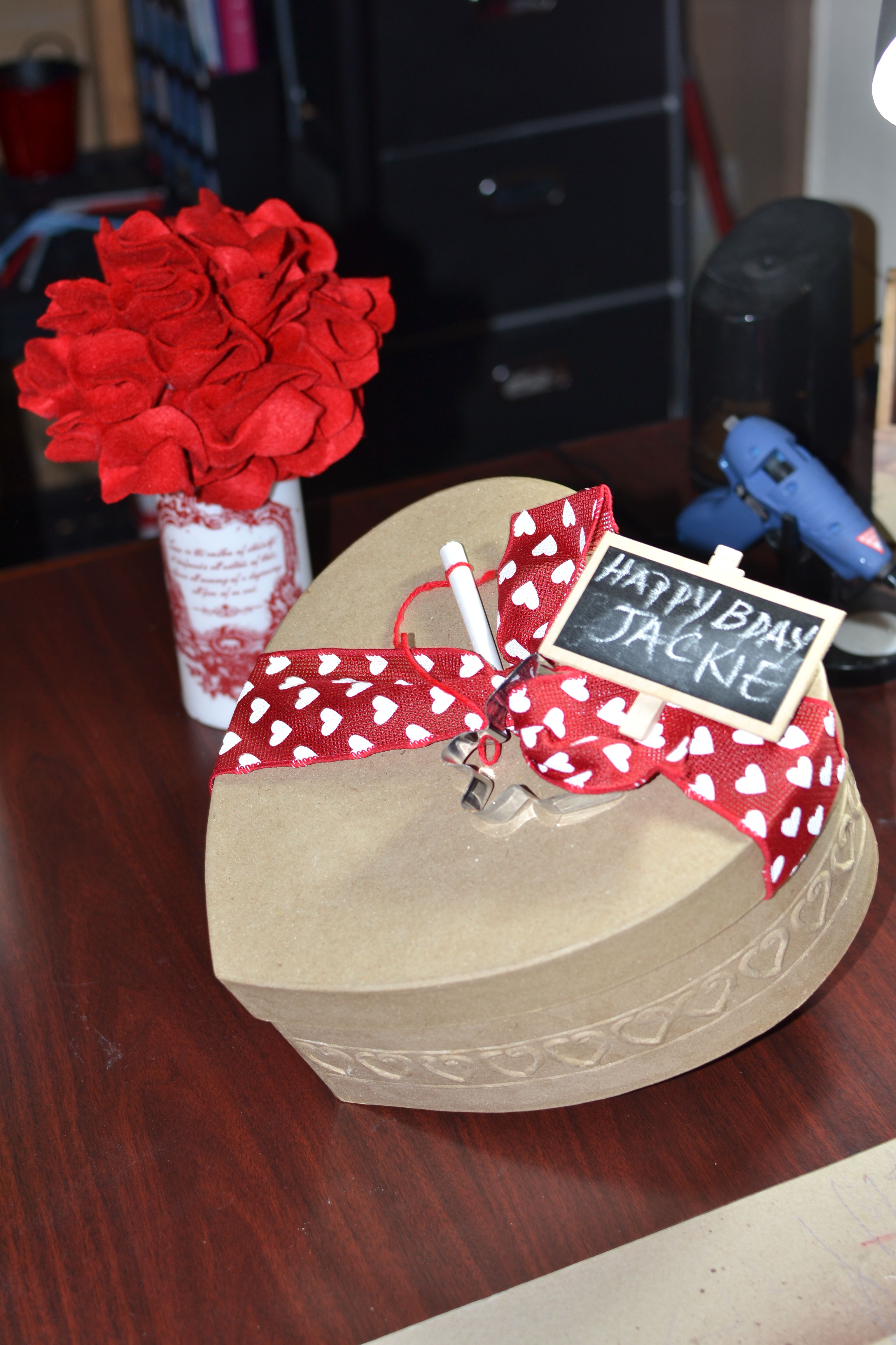 Heart decorated gift box with images gifts gift box
