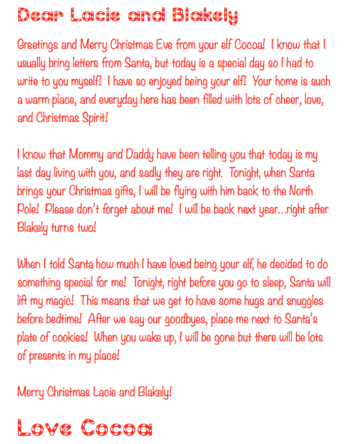 Goodbye Letter from Elf on the Shelf and Santa this letter allows