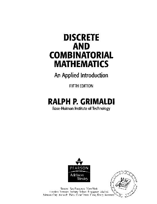 Discrete And Combinatorial Mathematics 5th Ed R Grimaldi Mathematics Cognitive Science Health Science
