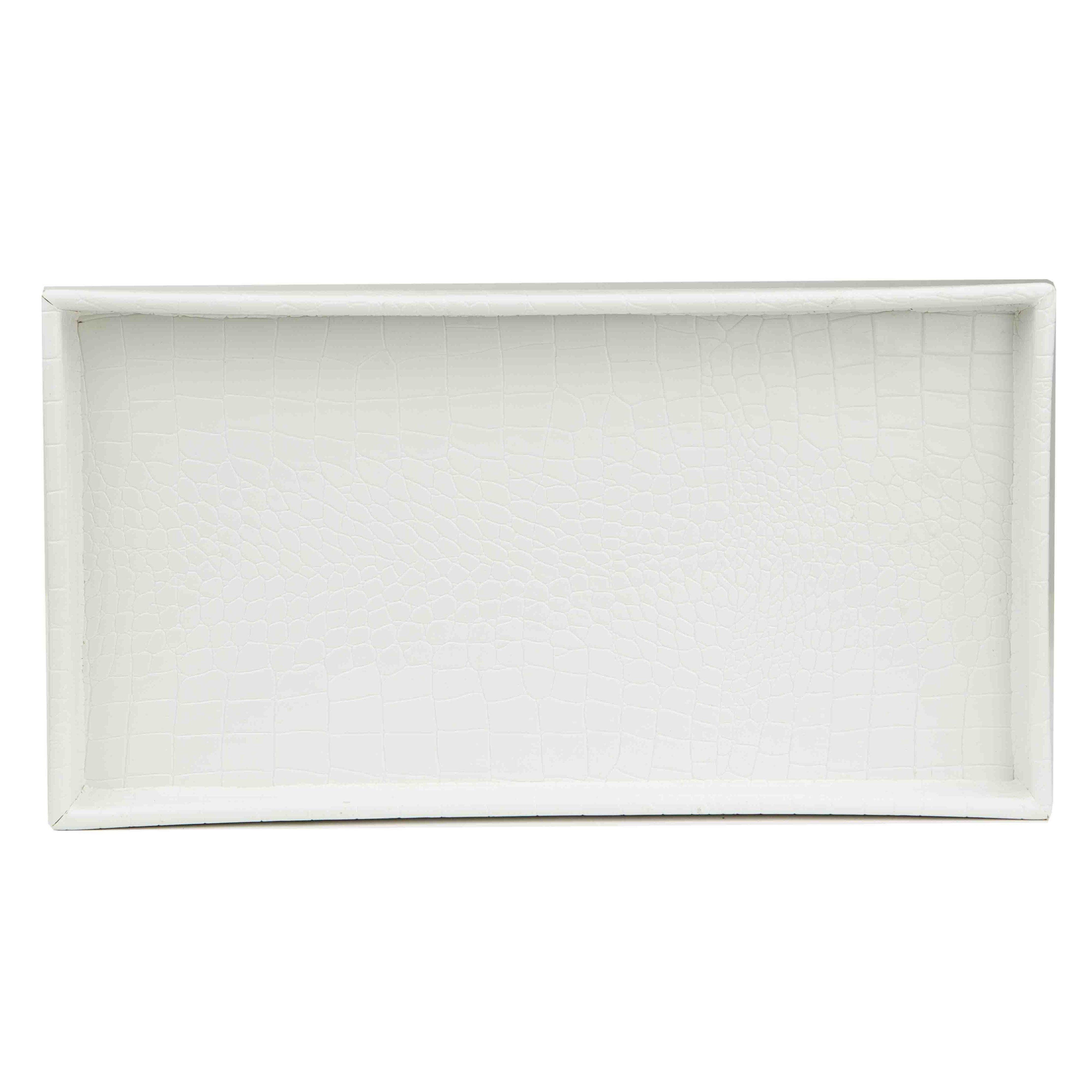 Photo of Home Basics Crocodile Plastic Vanity Tray, White – Default Title