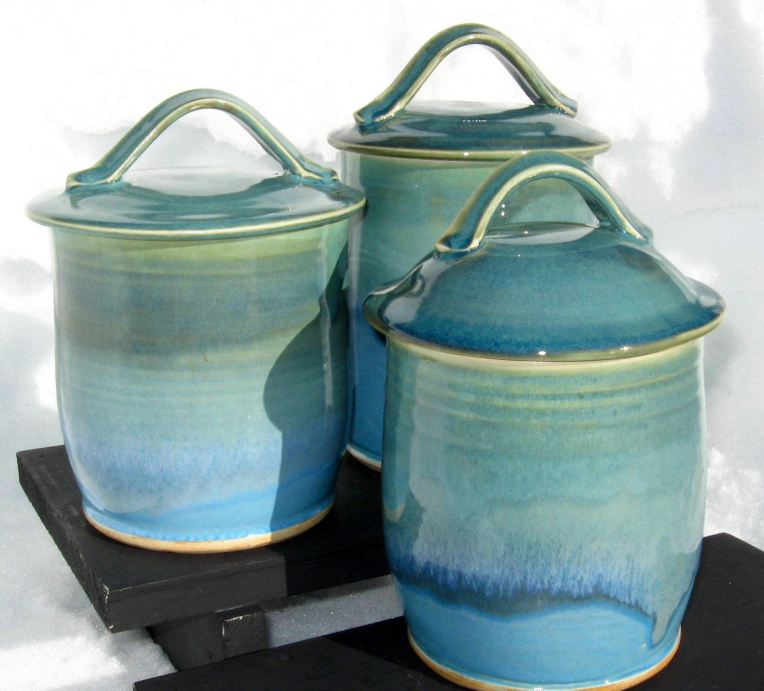 Three Canister Set In Shades Of Turquoise 105 00 Via Etsy
