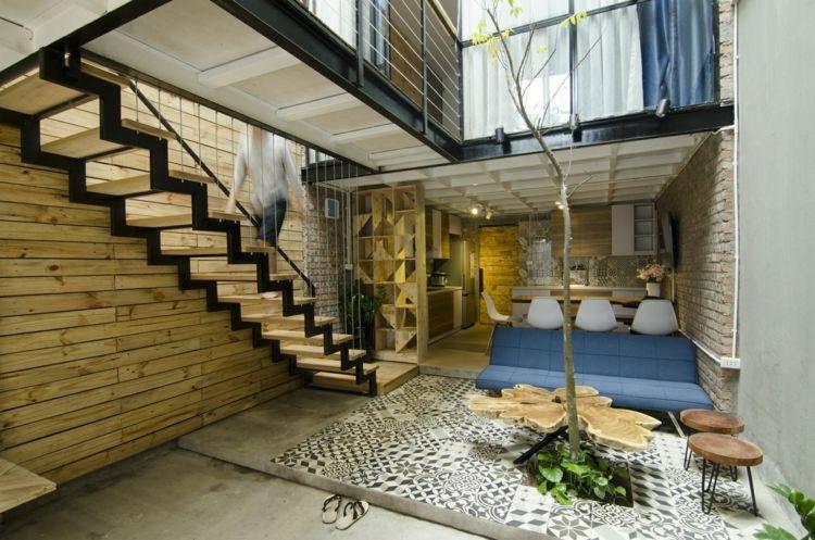 Offenes Wohnzimmer Mit Blauen Akzenten