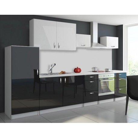 Très belle cuisine complète bi-color OXIN noir et blanc laqué
