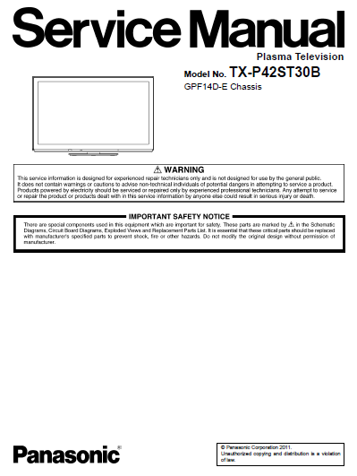 Panasonic Tx P42st30b Service Manual Complete Manual Panasonic Service
