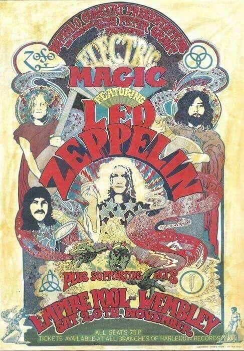 Led Zeppelin Lata 60 Plakaty Koncertowe Gitary I Muzyka