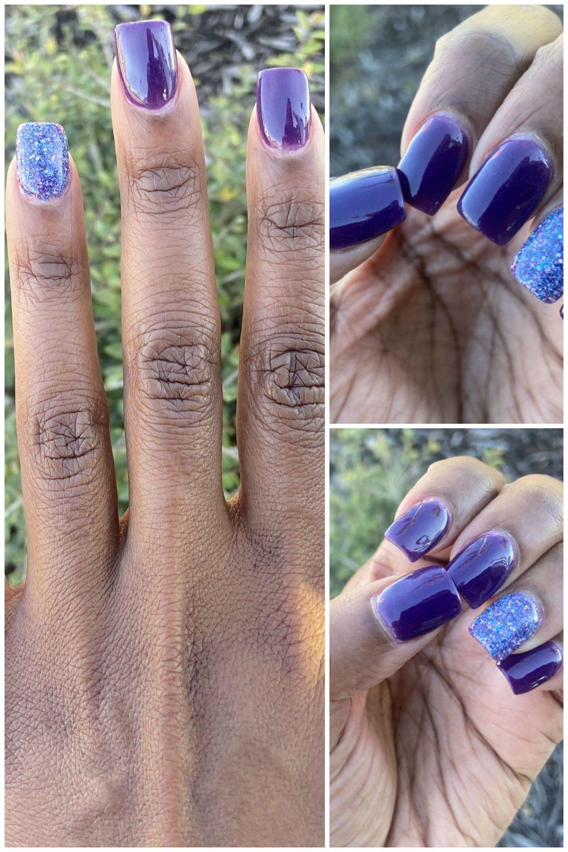 Dip powder manicure using purple acrylic powder powder