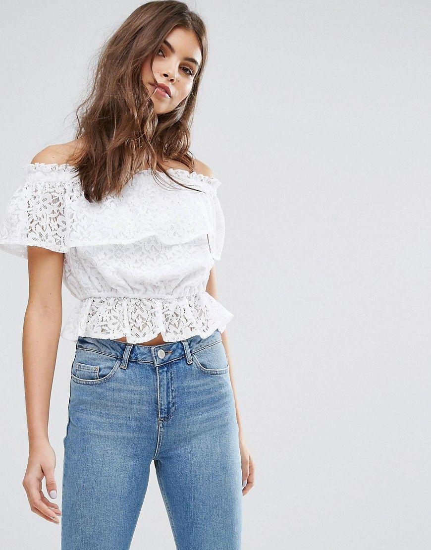 e49b4f771648f4 Miss Selfridge Lace Bardot Top - White | fancy tops | White peplum ...