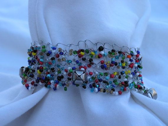 Carnival  Hand Knitted Wire Cuff Bracelet by OfBrushandNeedle, $20.00