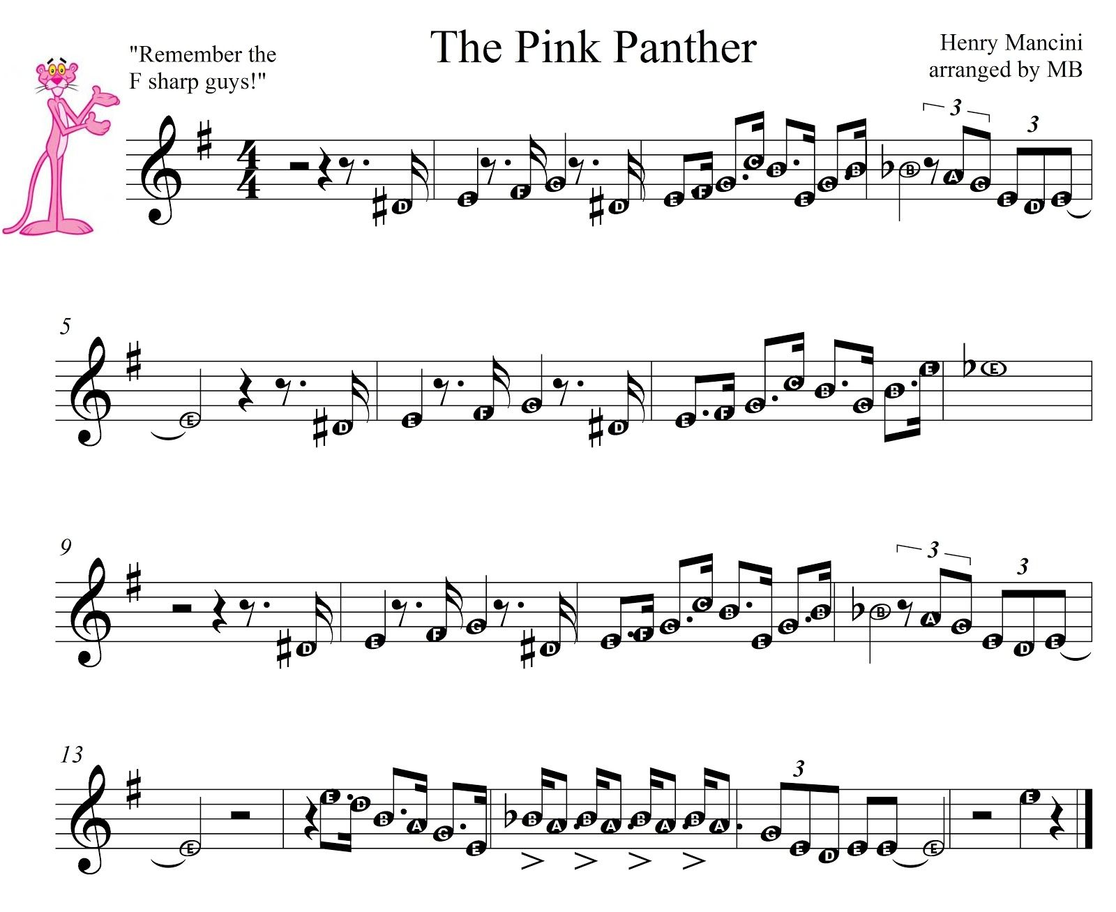 Pink Panther Sheet Music For Mobile The Theme1275 With Images