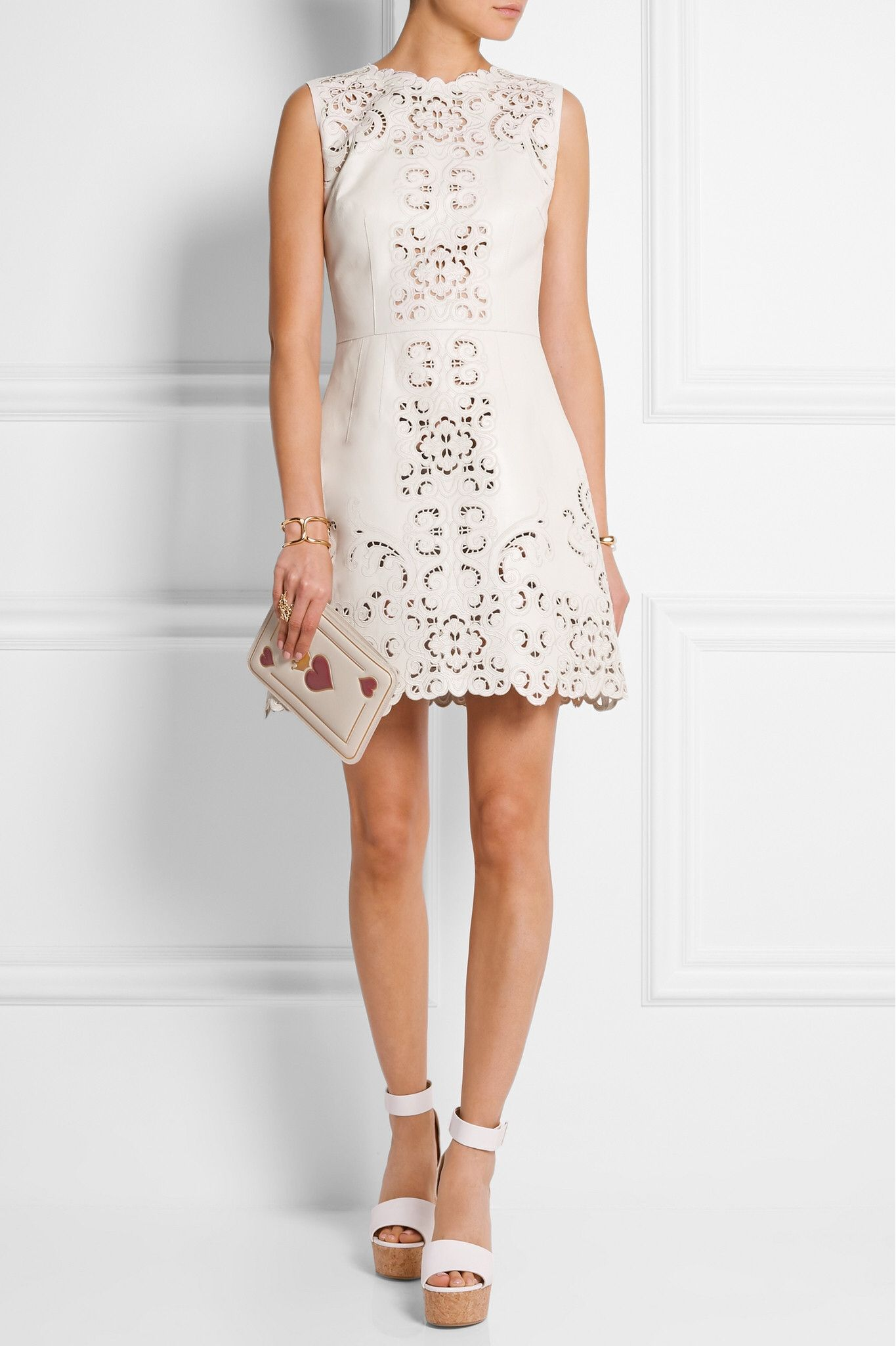 Mini white wedding dress  Pin by Layo  on NetaPorter  Pinterest  Leather mini dress