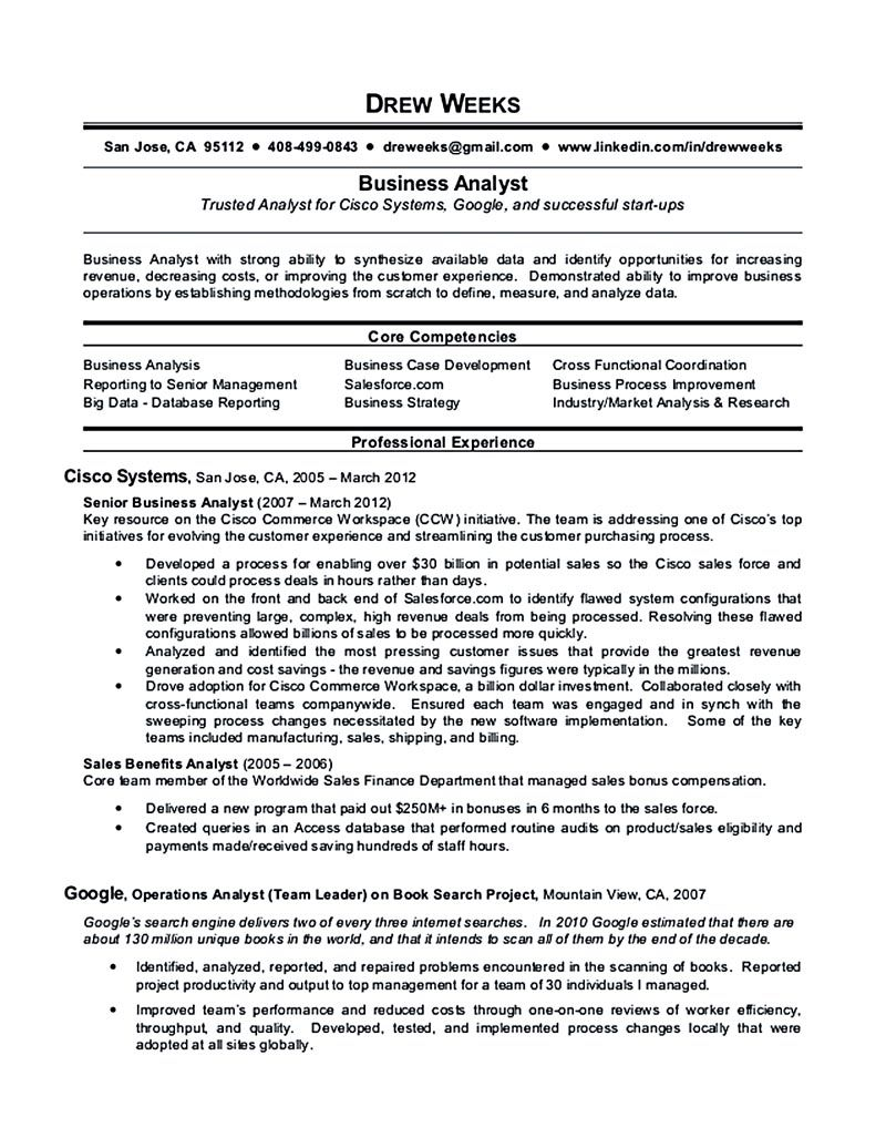 Business Analyst Resume Sample And Tips Business Analyst Resume Business Analyst Resume Examples