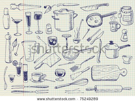 Kitchen Tools Drawings stock vector : kitchen utensils doodles vector | blog designs
