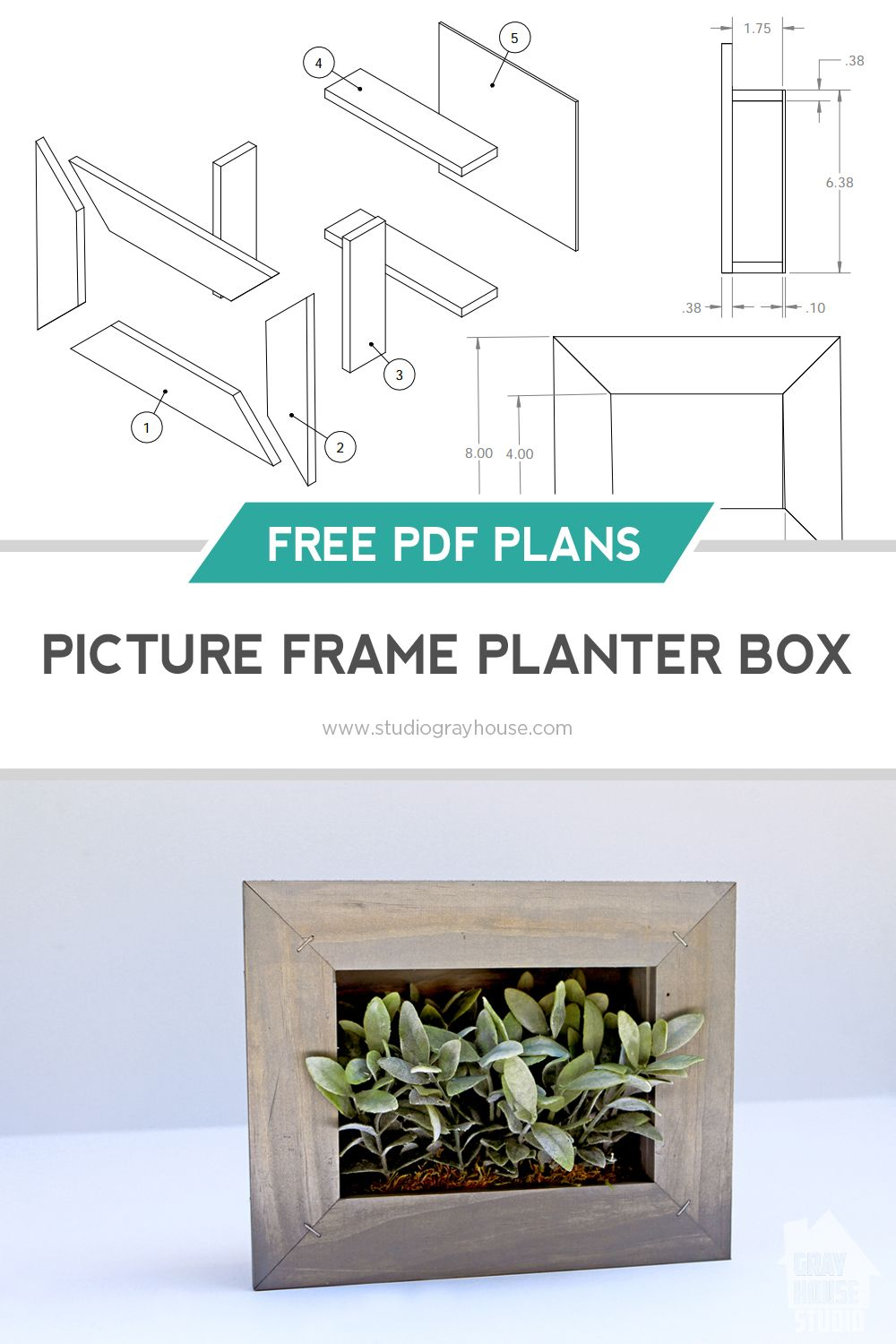 diy picture frame planter box with free plans  [ 1000 x 1500 Pixel ]
