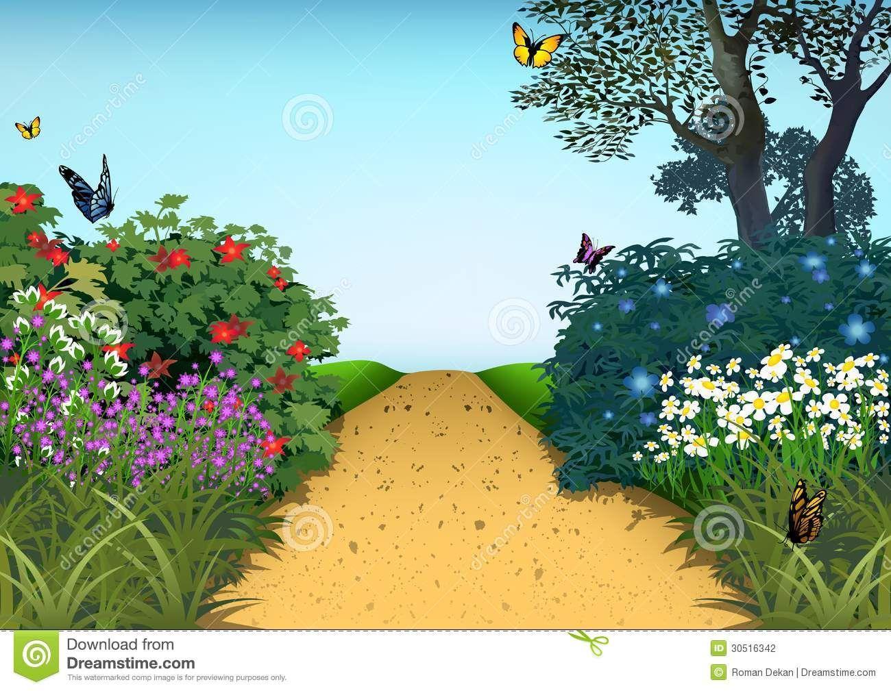Photo about Summer Garden , Cartoon Background Illustration
