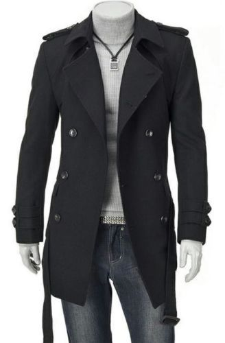 Fashion Men Wool Coat Winter Trench Coat Outear Overcoat Long Jacket Black Gray