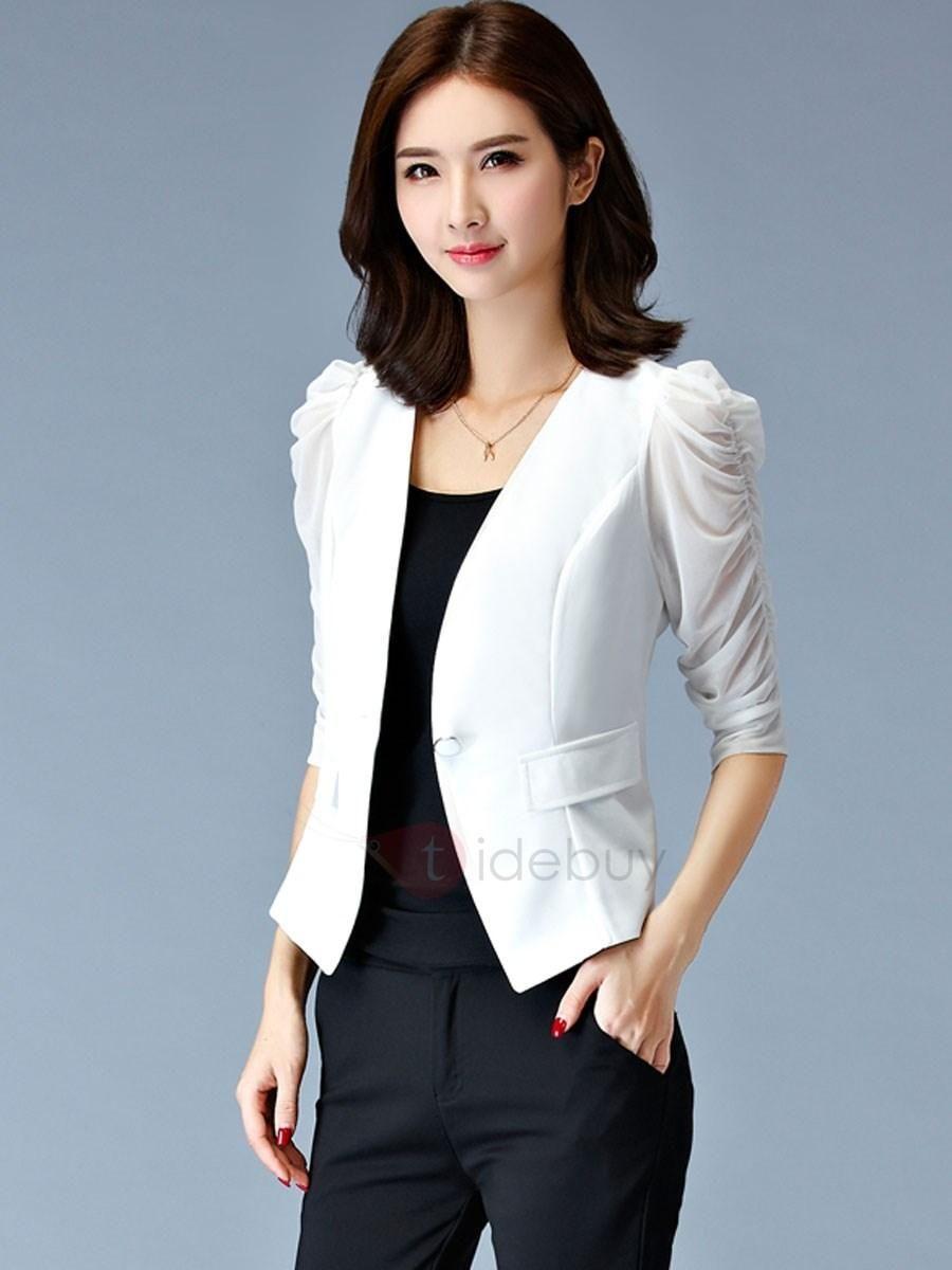 745d9b1c37ea4 ... thin black white short coats small suit female.  fall  fashion  trends   styles  AdoreWe  TideBuy -  TideBuy Cotton Stylish Puff Sleeves Sim Blazer  ...