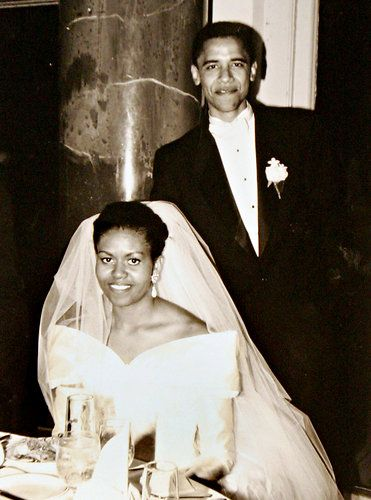 An American President Wedding Pres And Wife Michelle Probably In 1980s