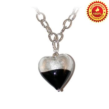 This beautiful Authentic Murano glass pendant necklace is a combination of Stirling Silver 925 Silver foil and Black Murano glass Heart Shaped Pendant topped off with sterling silver and black beaded chain. It makes a Special and Unique gift and it's a wonderful addition to any women's jewelery collection.