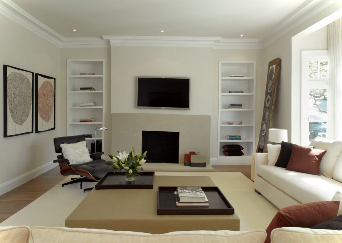 Beauteous Living Room Paint Idea With White Wall Color And Two Tone L Shaped Sofa In Brown Also Modern Coffee Table Over Blac